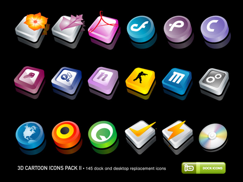 3D Cartoon Icons Pack (Alternate)