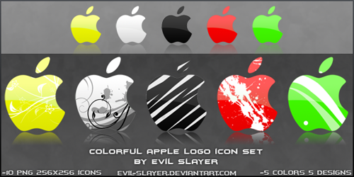 Colorful Apple Logo Icon Set