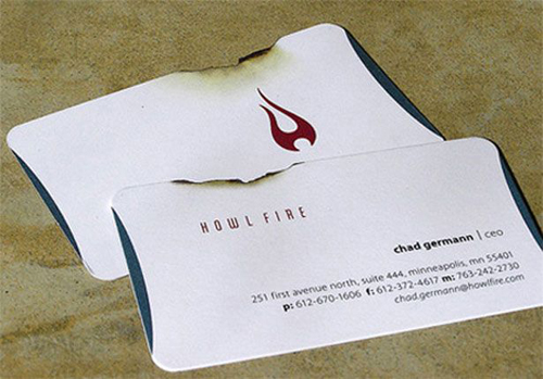 burnt business card